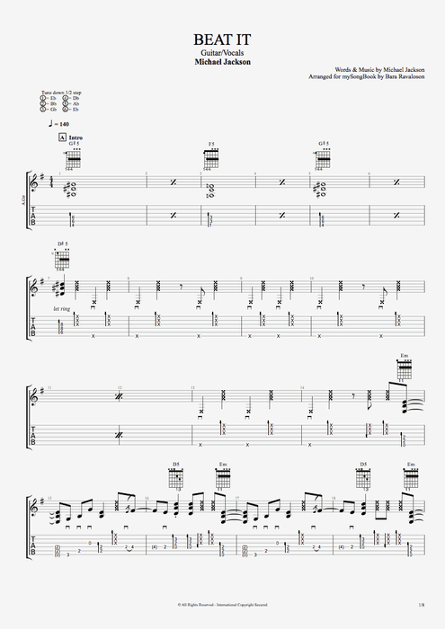 Beat It - Michael Jackson tablature