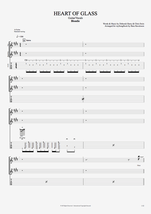 Heart of Glass - Blondie tablature