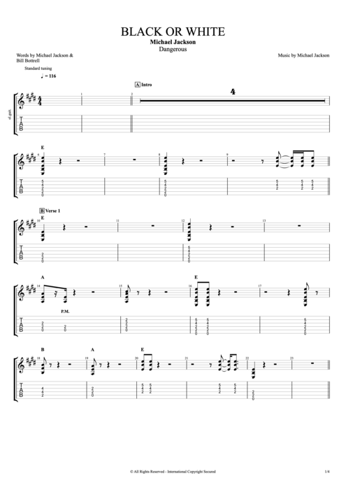 Black or White - Michael Jackson tablature