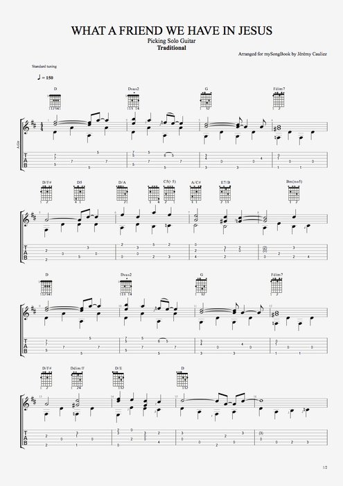 What a Friend We Have in Jesus - Traditional tablature