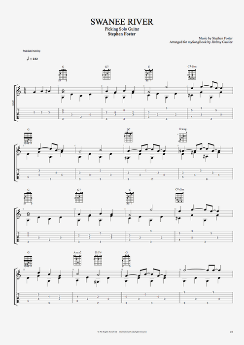 Swanee River - Stephen Foster tablature
