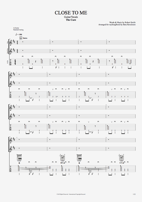 Close to Me - The Cure tablature