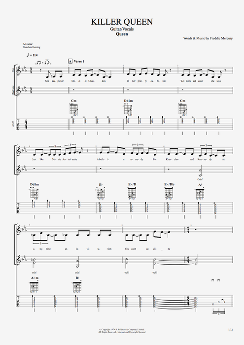 Killer Queen - Queen tablature