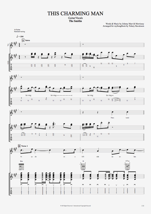 This Charming Man - The Smiths tablature