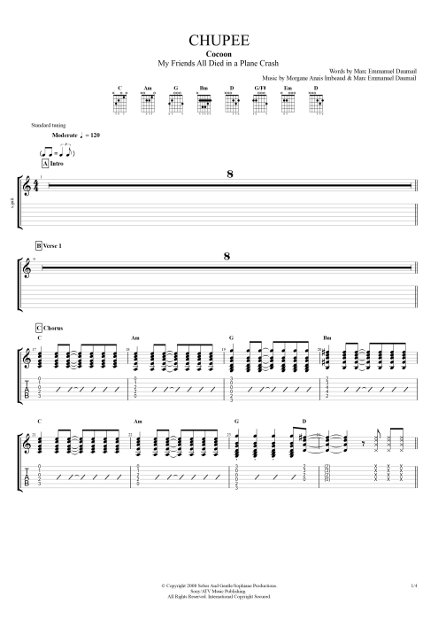 Chupee - Cocoon tablature