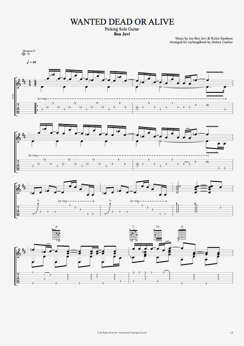 Wanted Dead or Alive - Bon Jovi tablature