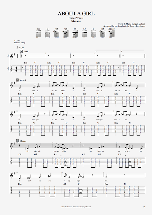 About a Girl - Nirvana tablature