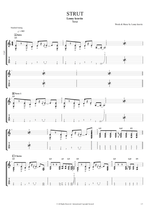 Strut - Lenny Kravitz tablature