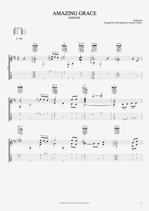 Amazing Grace - Traditional tablature