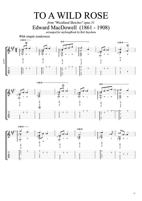 To a Wild Rose - Edward MacDowell tablature
