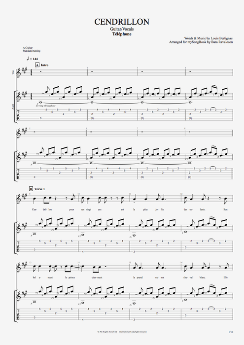 Cendrillon - Telephone tablature