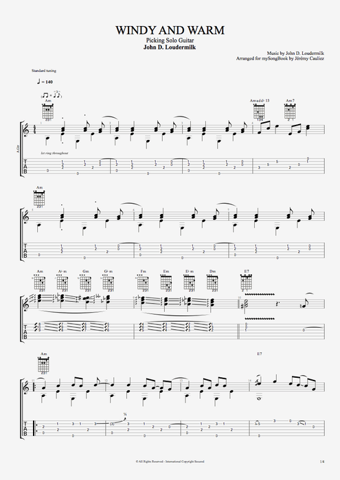 Windy and Warm - John D. Loudermilk tablature