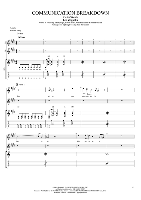 Communication Breakdown - Led Zeppelin tablature
