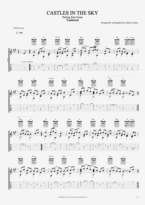 Castles in the Sky - Traditional tablature