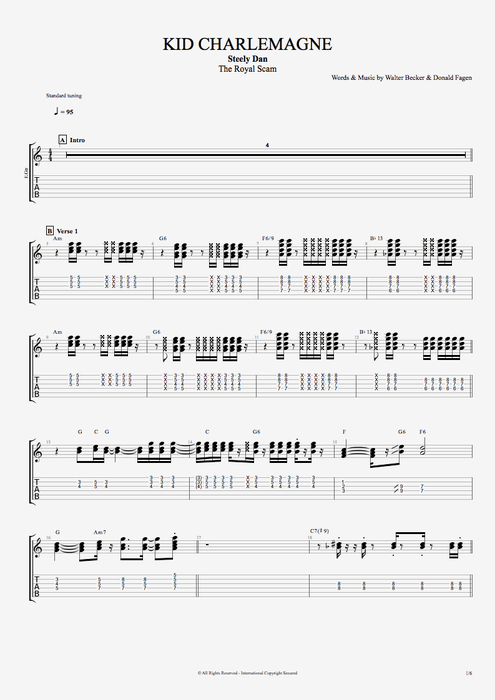 Kid Charlemagne - Steely Dan tablature