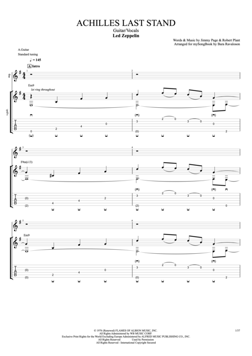 Achilles Last Stand - Led Zeppelin tablature