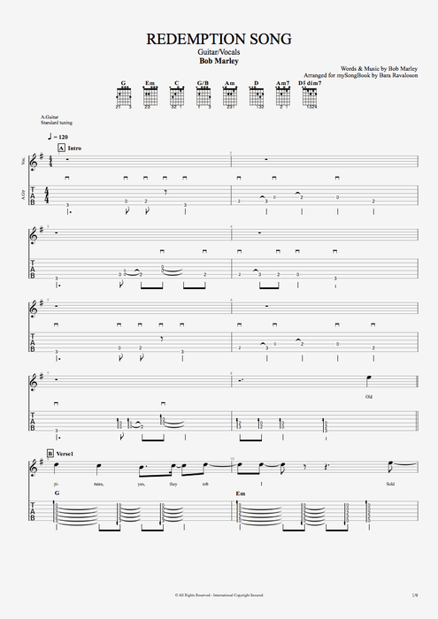 Redemption Song - Bob Marley tablature