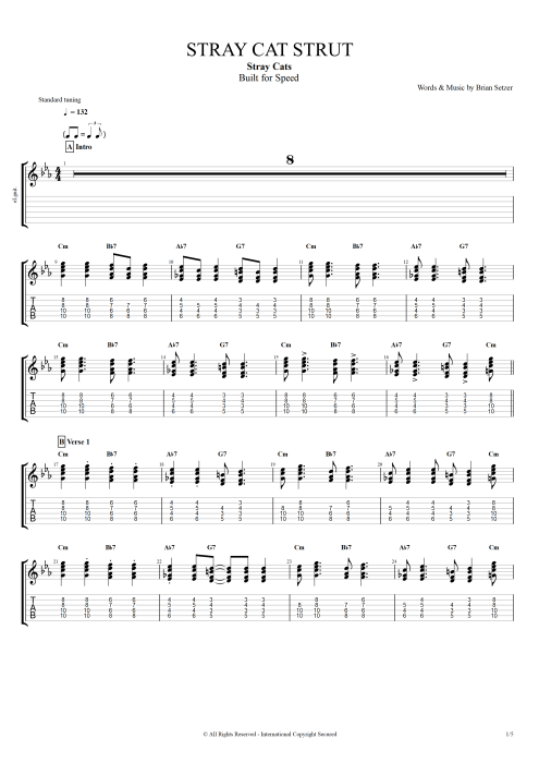 Stray Cat Strut - Stray Cats tablature