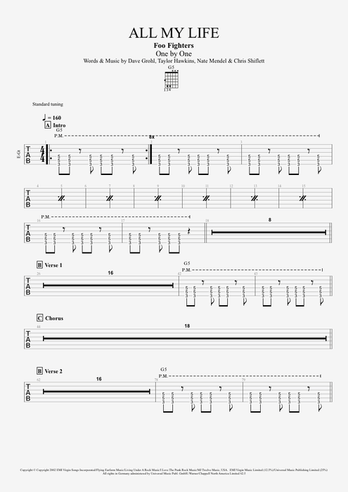 All My Life - Foo Fighters tablature