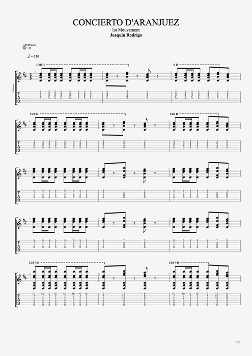 Concierto de Aranjuez 1st Movement - Joaquín Rodrigo tablature