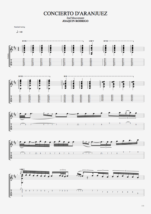 Concierto de Aranjuez 2nd Movement - Joaquín Rodrigo tablature