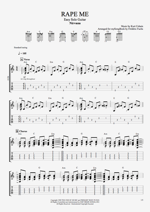 Rape Me - Nirvana tablature