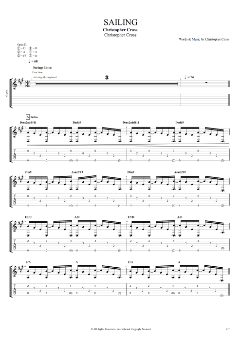Sailing - Christopher Cross tablature
