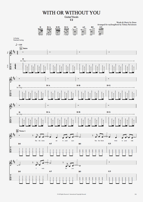 With or Without You - U2 tablature