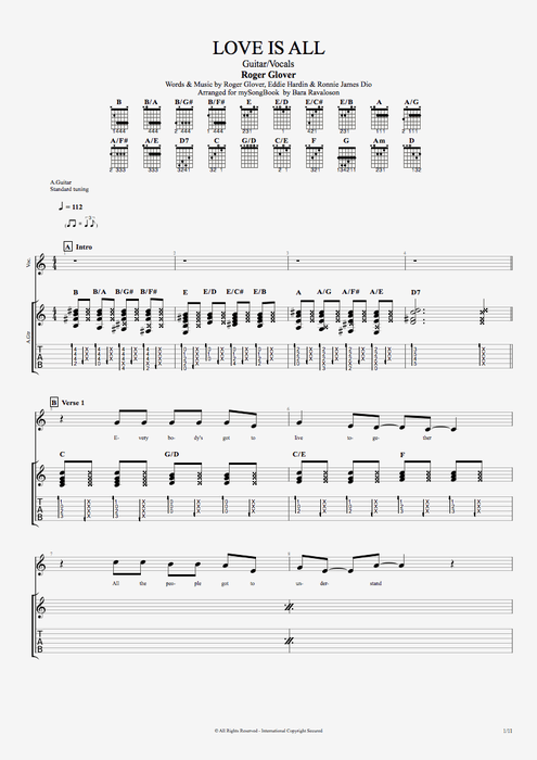 Love Is All - Roger Glover tablature