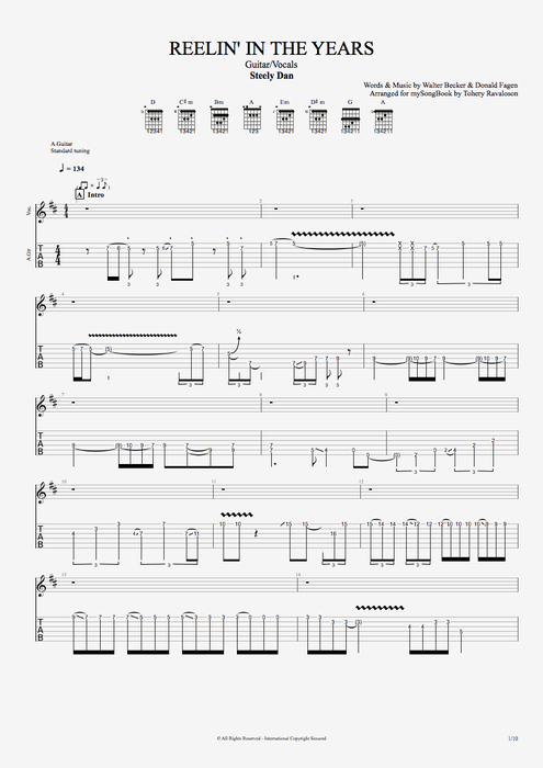 Reelin' In the Years - Steely Dan tablature