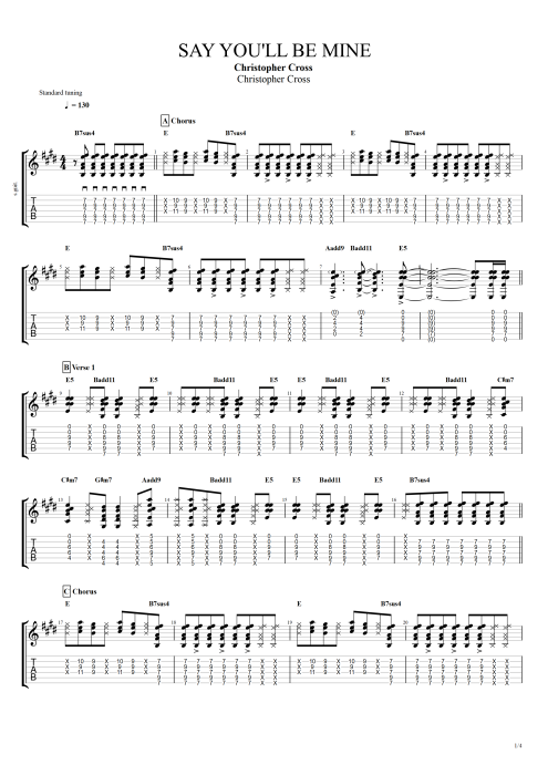 Say You'll Be Mine - Christopher Cross tablature