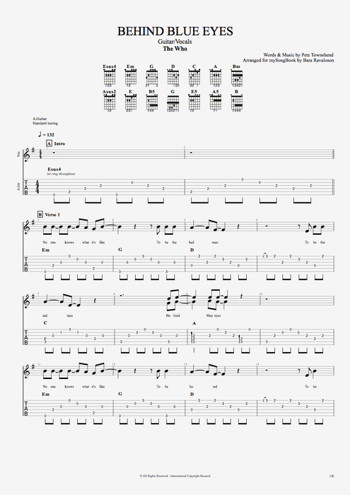 Behind Blue Eyes - The Who tablature