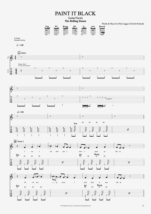 Paint It Black - The Rolling Stones tablature
