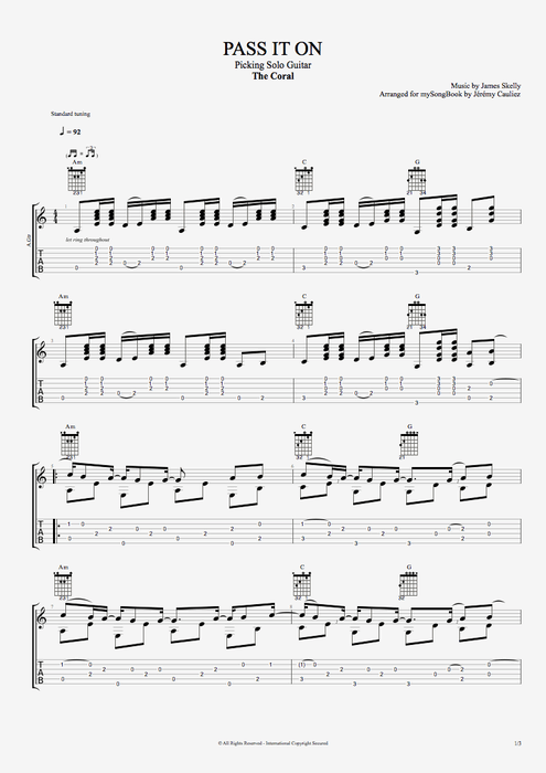 Pass It On - The Coral tablature