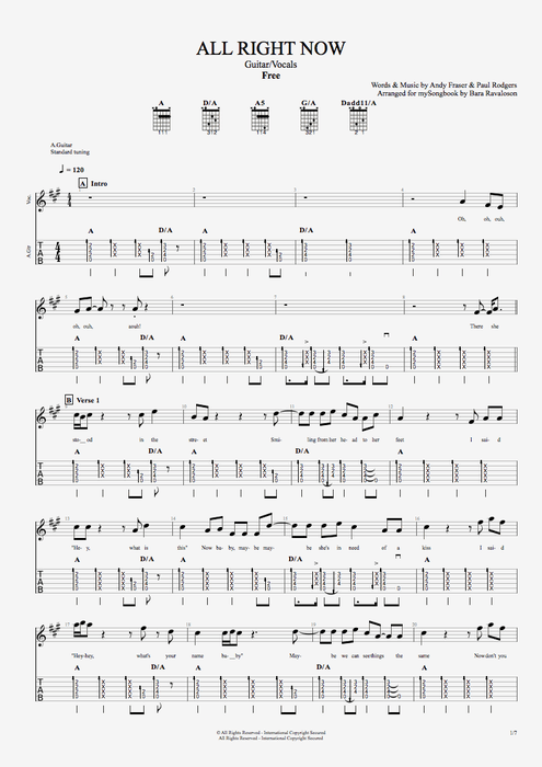 All Right Now By Free Guitar Vocals Guitar Pro Tab