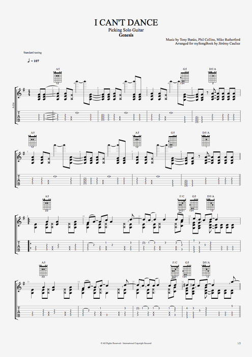 I Can't Dance - Genesis tablature