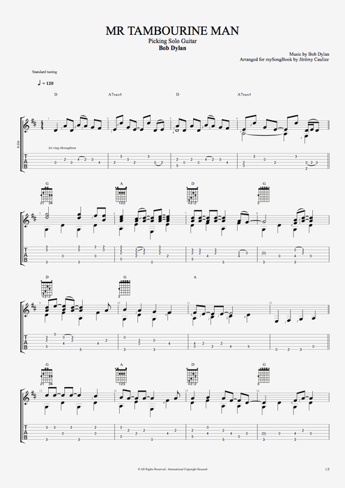 Mr. Tambourine Man - The Byrds tablature