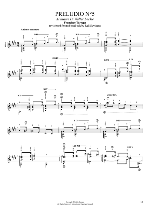 Preludio n°5 - Francisco Tarrega tablature