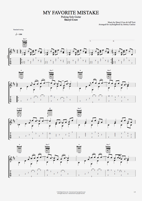 My Favorite Mistake - Sheryl Crow tablature
