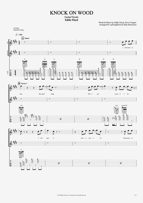 Knock on Wood - Eddie Floyd tablature