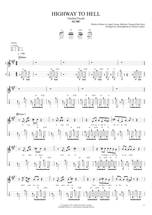 Highway to Hell - AC/DC tablature
