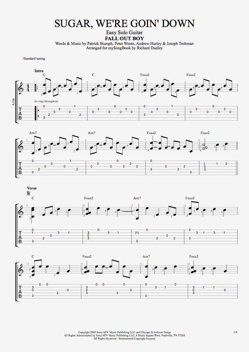 Sugar, We're Goin Down - Fall Out Boy tablature