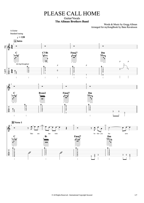 Please Call Home - The Allman Brothers Band tablature