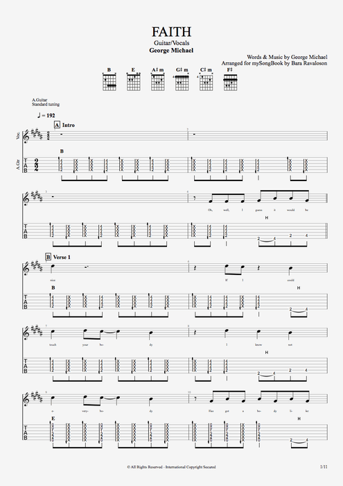 Faith - George Michael tablature