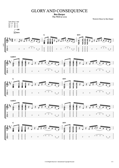 Glory & Consequence - Ben Harper tablature