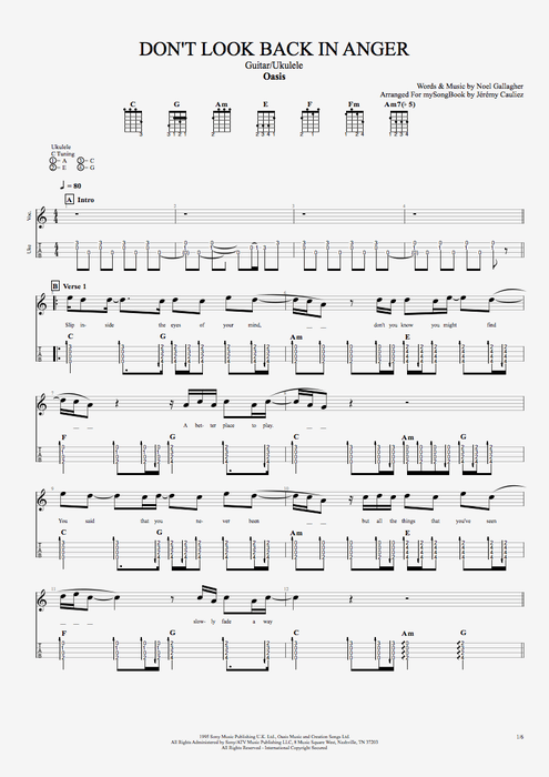 Don't Look Back in Anger - Oasis tablature