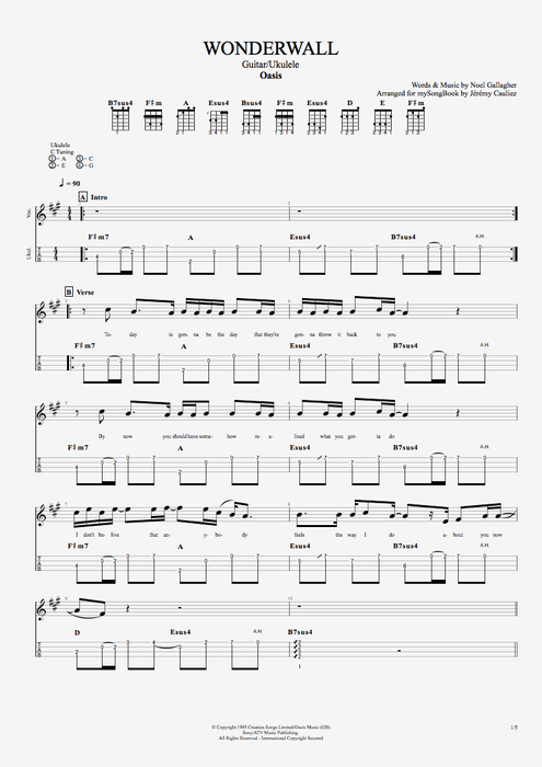Wonderwall - Oasis tablature
