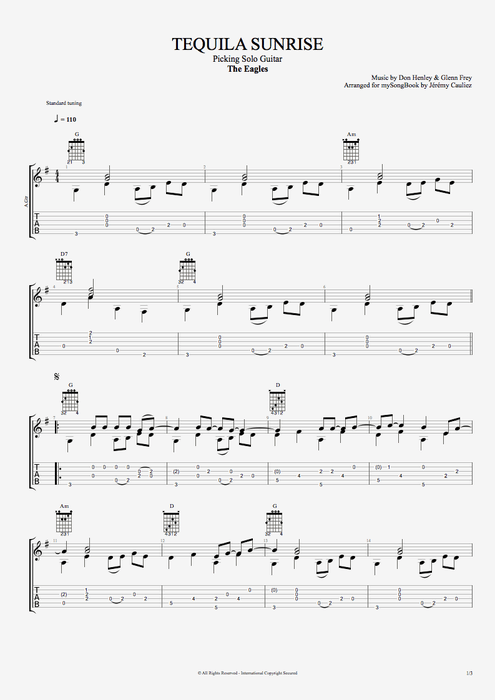 Tequila Sunrise - The Eagles tablature