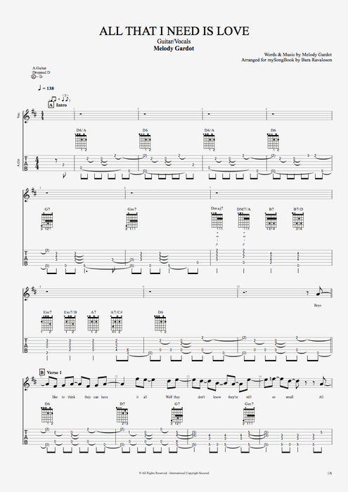 All That I Need Is Love - Melody Gardot tablature