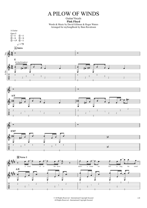 A Pillow of Winds - Pink Floyd tablature